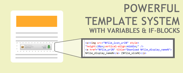Powerful template system with variables