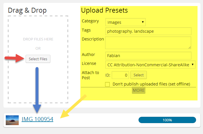 Drag & Drop Files, Upload Presets